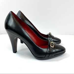 Banana Republic black leather heel with buckle 6M